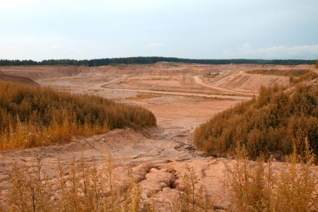 sand quarry: extraction of sand on sand quarry