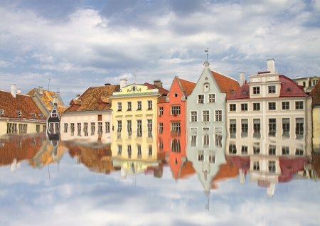 Tallinn old town flooded with water photo
