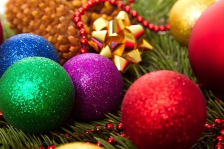 Christmas balls fir cones Stock Photo - 24214319