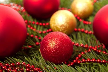 Christmas balls fir cones photo