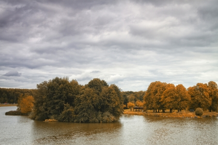 river flows through the autumn park. photo