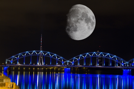 Bridges of Riga in the moonlight photo