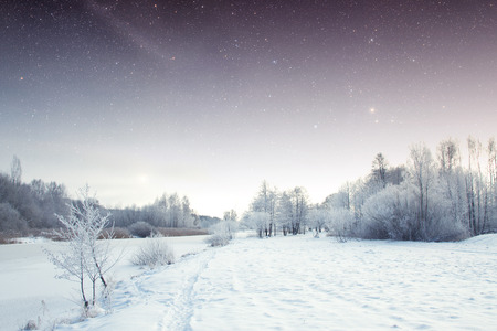 winter river at night.