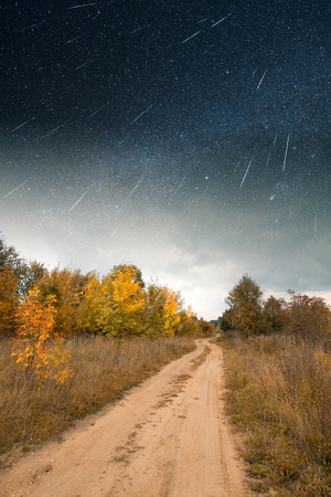 road under starlight.   photo