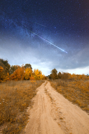 road under starlight.  Elements of this image furnished by NASA photo