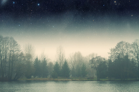 night scene: night fog . Stock Photo