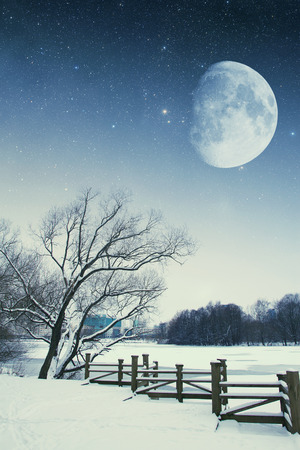 River winter night.  photo