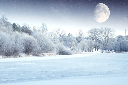 winter river at night.  photo