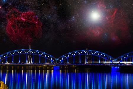 Riga at night.  photo