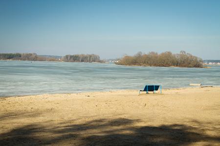 michigan snow: frozen beach