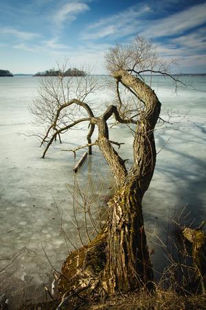 frozen river: frozen river in spring Stock Photo