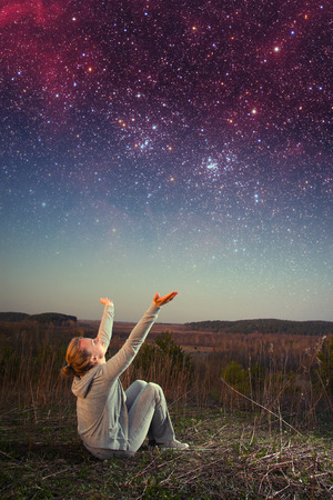 girl and a starry sky.  photo