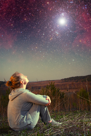 girl and a starry sky. Stok Fotoğraf