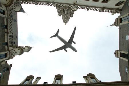 plane over the city of Brussels tilt - shift  Stock Photo