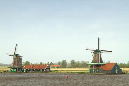 zaandam: Traditional dutch windmills Stock Photo