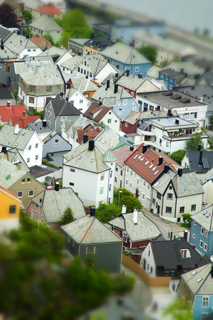 Alesund, Norway - town houses on sea front. tillt-shift photo