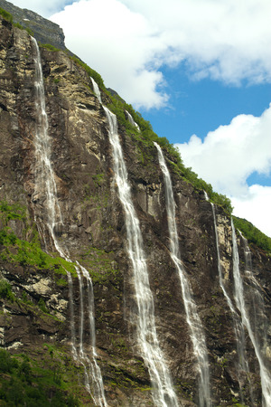 seven sisters: Geiranger fjord, Norway - waterfalls Seven Sisters. Stock Photo