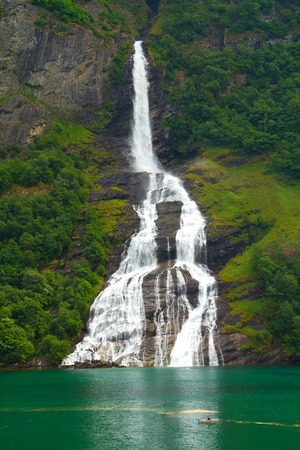 Geiranger fjord, Norway - waterfalls Seven Sisters.