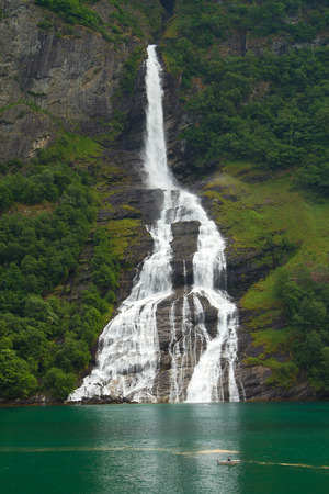 Geiranger fjord, Norway - waterfalls Seven Sisters. photo