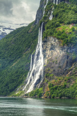 waterfalls northern Norwegian fjords.  photo