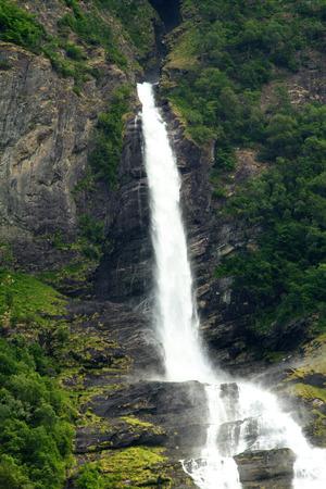 waterfalls northern Norwegian fjords.  photo