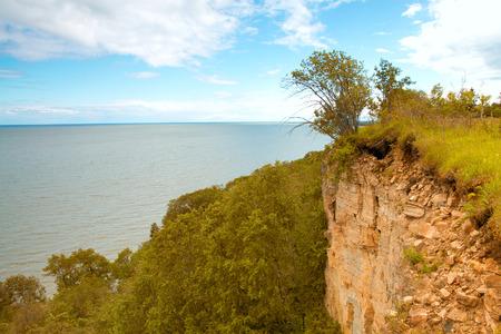cliff above the sea. scenic spots in nature.  photo