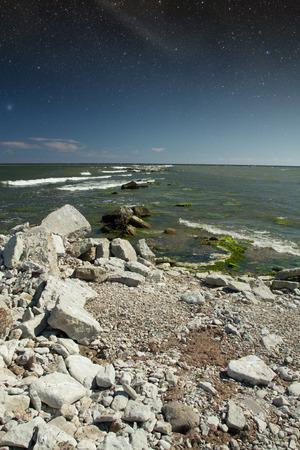 rocks into the sea. scenic spots in Europe. Stock Photo
