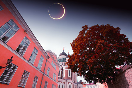 solar eclipse in Tallinn. Elements of this image furnished by NASA