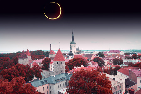 solar eclipse in Tallinn.  Stock Photo