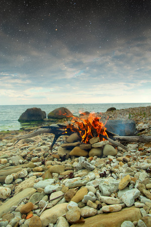 Inviting campfire on the beach during the summer. Elements of this image furnished by NASA photo