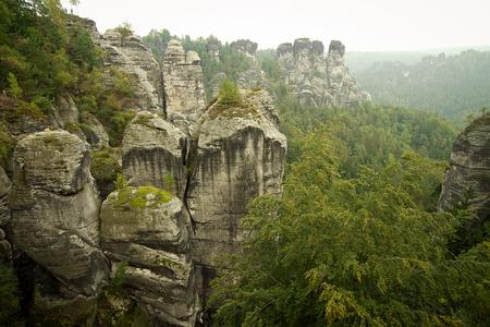 Cesky raj sandstone cliffs - Prachovske skaly, Czech Republic Standard-Bild