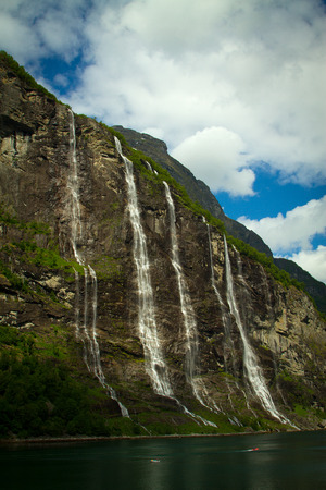 waterfalls northern Norwegian fjords.