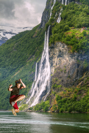 male sports. Jumps in Europe. waterfalls northern Norwegian fjords.