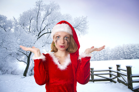 sexy woman in the role of Santa Claus. Winters Tale