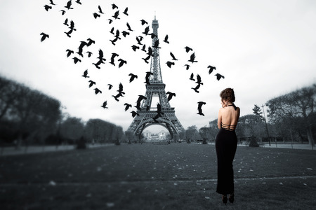 stylish girl stands in the center of Paris, near the Eiffel Tower. soars in the sky a flock of crows. photo