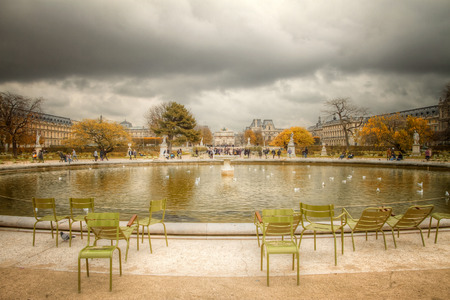 Paris park. Autumn near the Louvre.