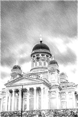 senate: Black and white sketch sketches recognizable places in Europe. Helsinki Catheral.