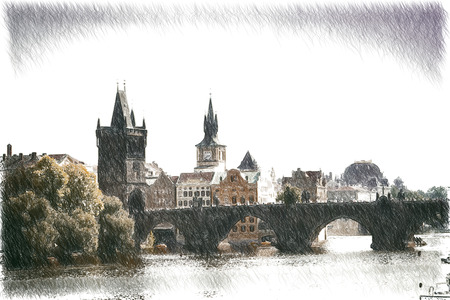 vintage retro style. Prague in the fall. Charles Bridge sunny day