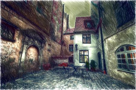 cobblestone street: Vintage retro travel image of a narrow medieval street in old town Riga Stock Photo