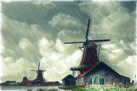 Mill Nederland. beroemde landschap van de Noordzee Stockfoto