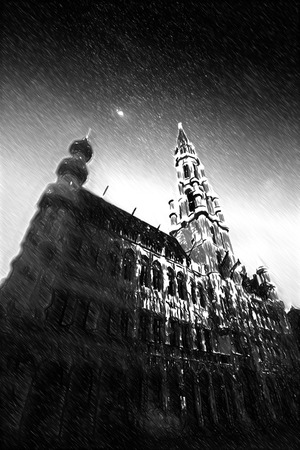 brussels: Brussels night.Black and white sketch sketches recognizable places in Europe.