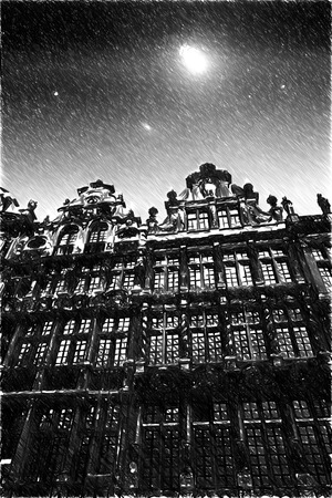 Brussels night. Black and white sketch sketches recognizable places in Europe. 写真素材