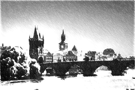 lookout: Black and white sketch sketches recognizable places in Europe. Prague in the fall. Charles Bridge sunny day