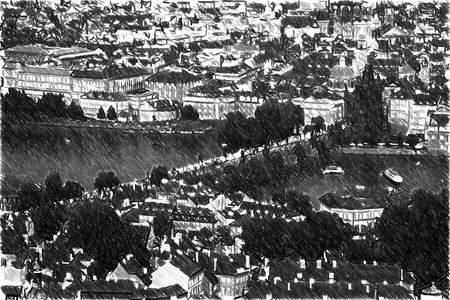 unesco: Black and white sketch sketches recognizable places in Europe. Most mystical and mysterious city in Europe. Prague through the eyes of birds