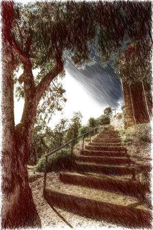 catalonia: beautiful scenic parks in Barcelona. solar Catalonia Stock Photo