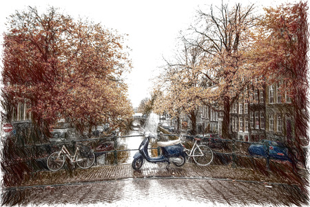 waterway: Amsterdam autumn. beautiful places in Europe