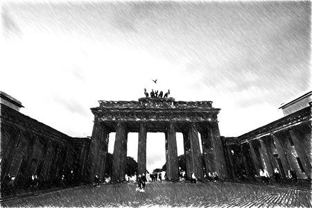 brandenburg: Brandenburg Gate. Black and white sketch sketches recognizable places in Europe. Stock Photo