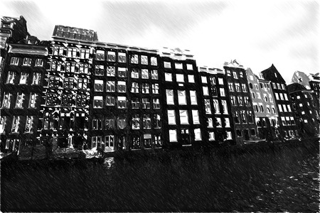 amsterdam canal: Black and white sketch sketches recognizable places in Europe. Amsterdam in summer