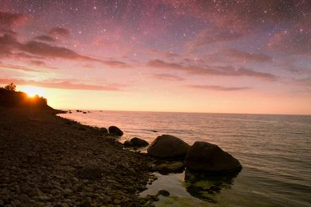 hues: sunset at sea. variety of colors and hues of the rising sun.