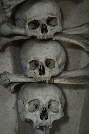 parietal: old bones and skulls in the Gothic vault of Kutna Hora. Ossuary.